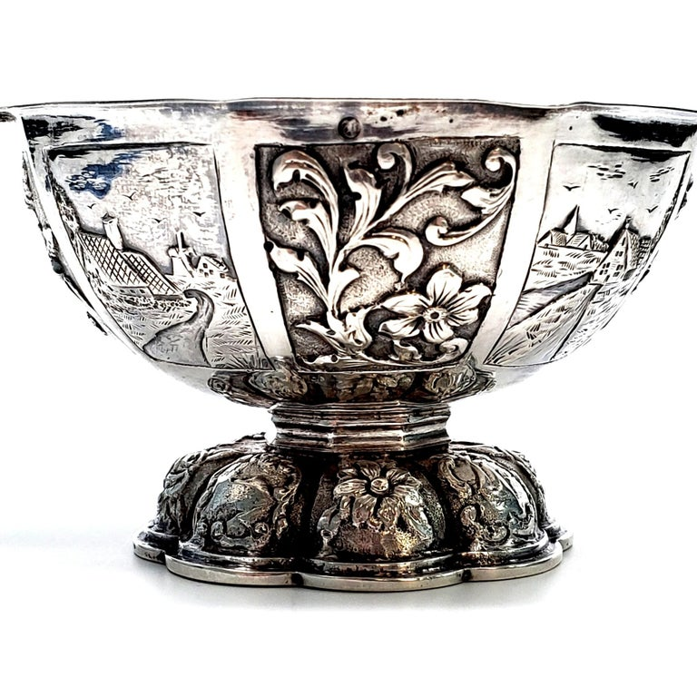 Women's or Men's Dutch Octagonal 835 Silver Brandy Bowl For Sale