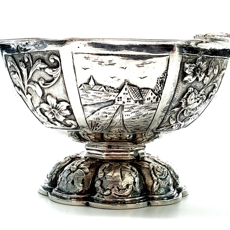 Dutch Octagonal 835 Silver Brandy Bowl For Sale 1
