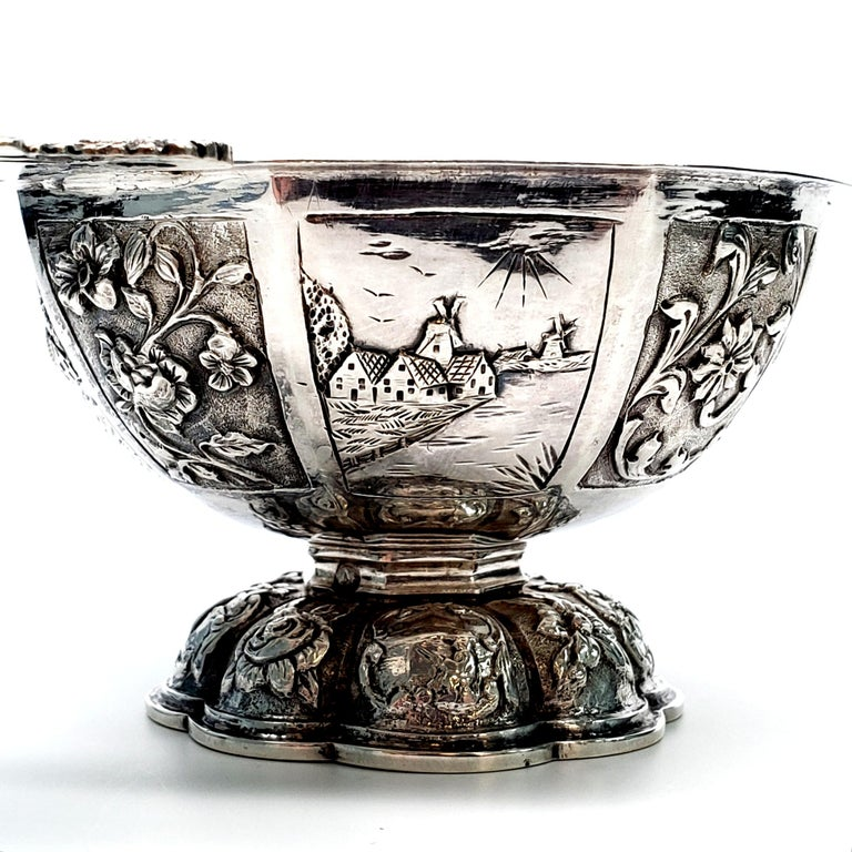 Dutch Octagonal 835 Silver Brandy Bowl For Sale 2