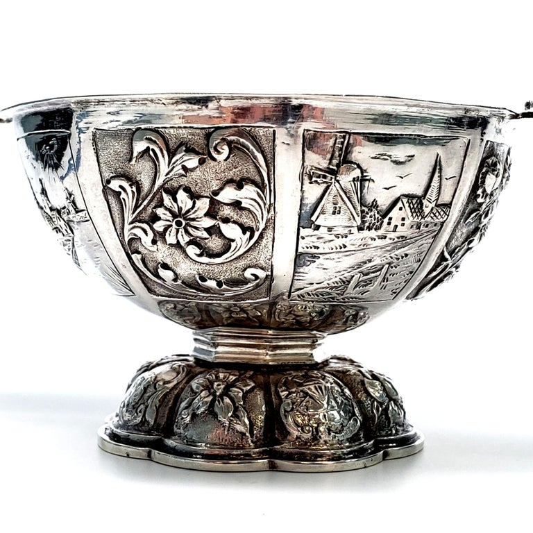 Dutch Octagonal 835 Silver Brandy Bowl For Sale 3