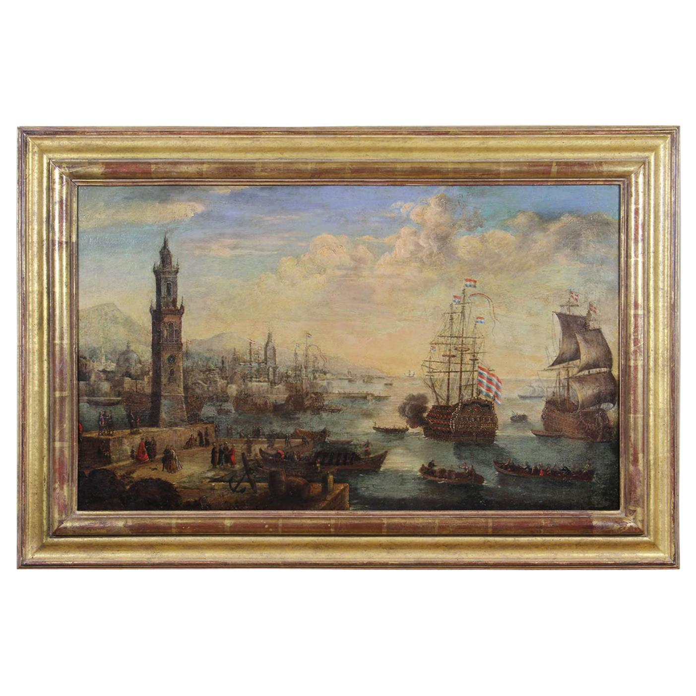 Dutch Oil on Panel Harbor Scene