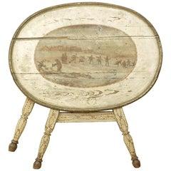 Dutch Painted Folding Table, Rustic Rural Scene, 19th Century, Original
