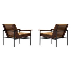 Dutch Pair of Lounge Chairs with Steel Frame