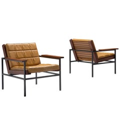 Dutch Pair of Yellow Lounge Chairs with Steel Frame