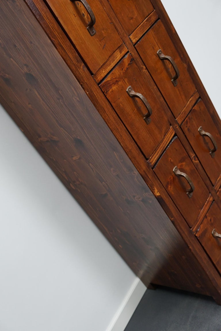Dutch Pine Industrial Apothecary or Workshop Cabinet, 1930s For Sale 11