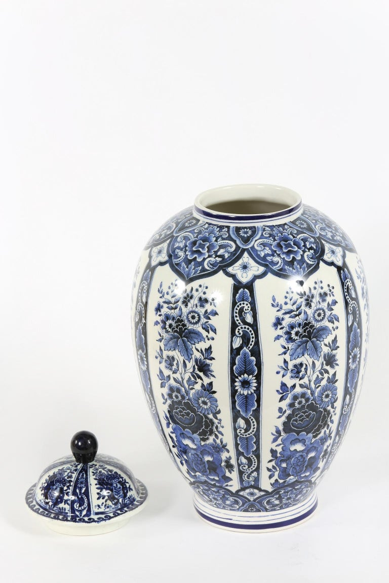 Dutch Porcelain Covered Decorative Urn For Sale 4