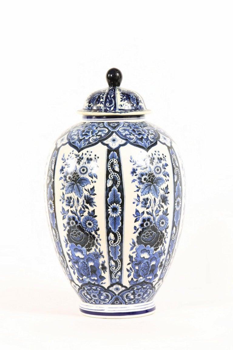 Dutch Porcelain Covered Decorative Urn For Sale 5