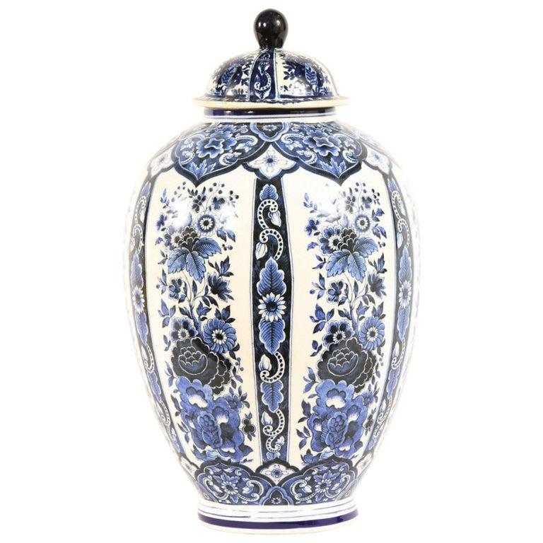 Dutch Porcelain Covered Decorative Urn For Sale