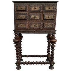 Dutch Baroque Chest Of Drawers On Stand With Brass Hardware