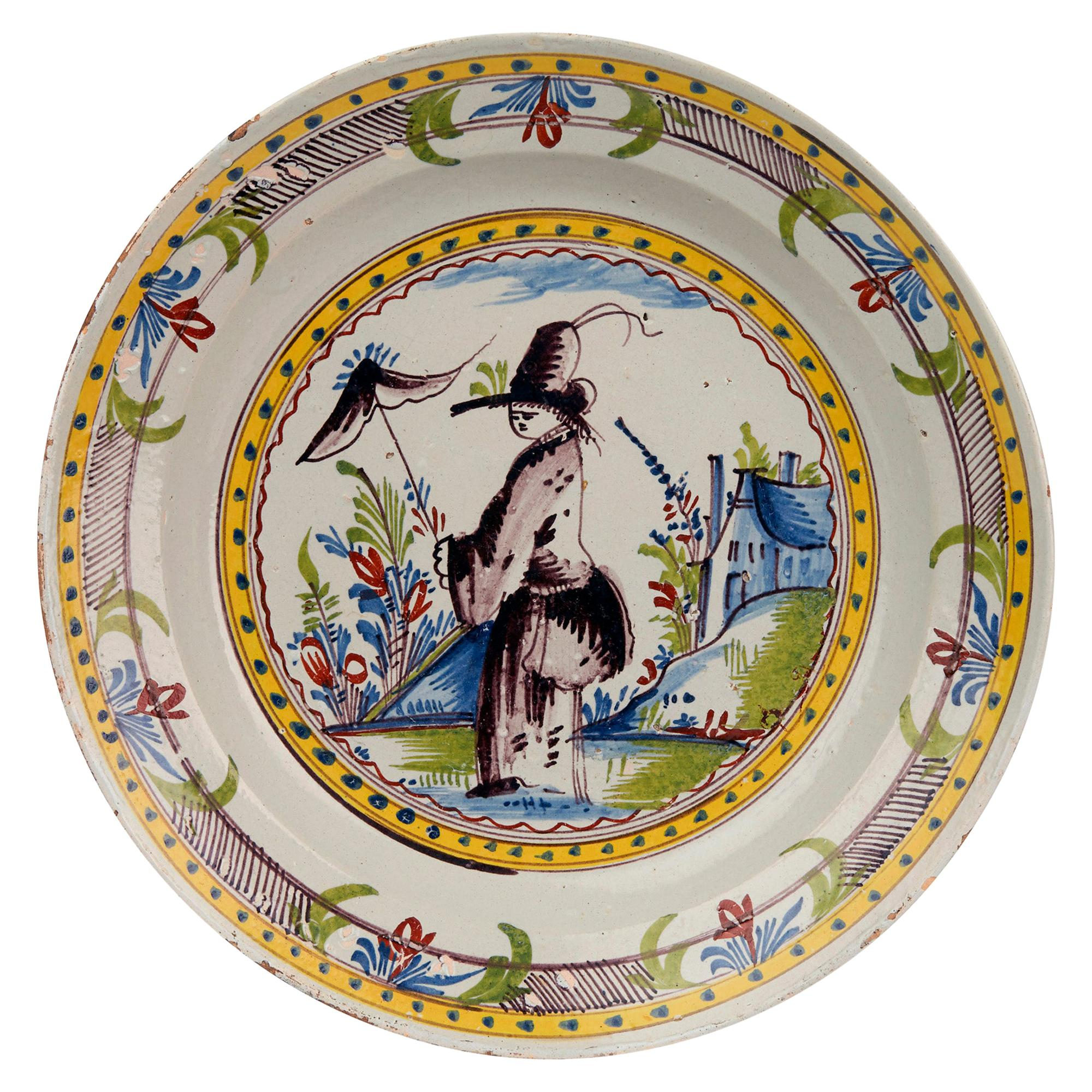 Dutch Rare Delft Faience Polychrome Lady in Landscape Pottery Dish