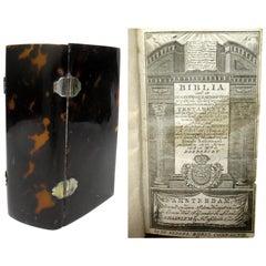 Dutch Reform Religious Holy Bible Bijbel Tortoiseshell Hardback Cover Dated 1818
