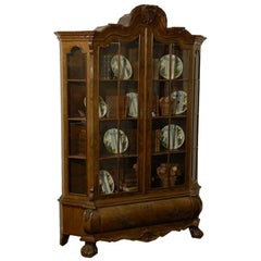Dutch Rococo Revival 1890s Bombé Vitrine Display Cabinet with Glass Doors
