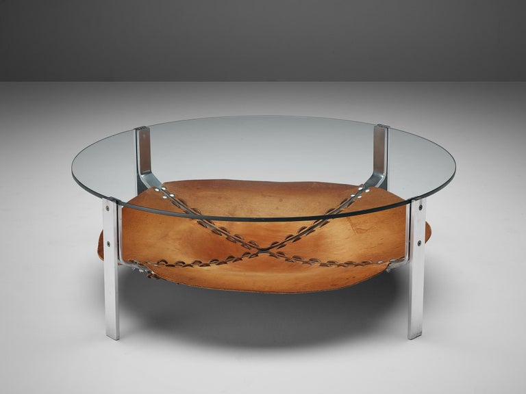 Round coffee table, steel, leather, glass, the Netherlands, 1970s