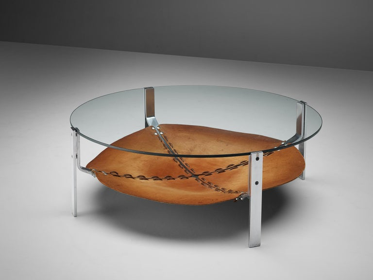 Late 20th Century Dutch Round Coffee Table Cognac Leather and Steel For Sale