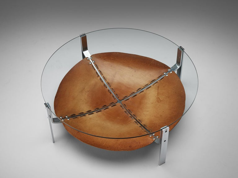 Dutch Round Coffee Table Cognac Leather and Steel For Sale 2