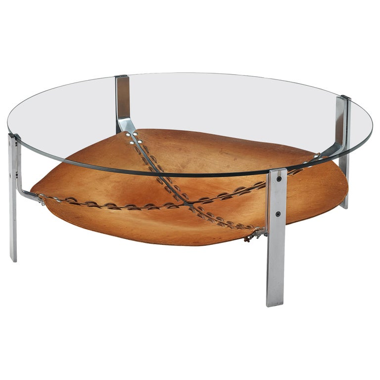 Dutch Round Coffee Table Cognac Leather and Steel For Sale