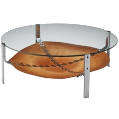 Dutch Round Coffee Table Cognac Leather and Steel