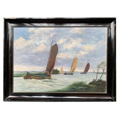 Dutch Seascape Painting with Sailboats