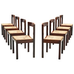Dutch Set of Eight Dining Chairs in Wengé and Cane