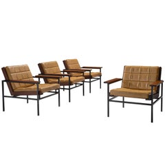 Dutch Set of Four Yellow Lounge Chairs with Steel Frame