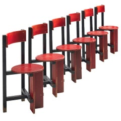 Dutch Set of Six 'Bastille' Chairs by Piet Blom, 1968
