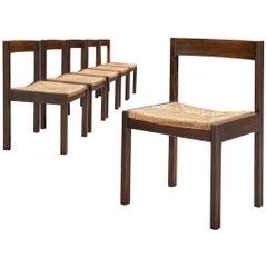 Dutch Set of Six Chairs in Wengé and Rattan