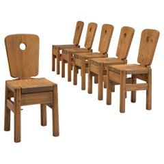 Dutch Set of Six Dining Chairs in Oak