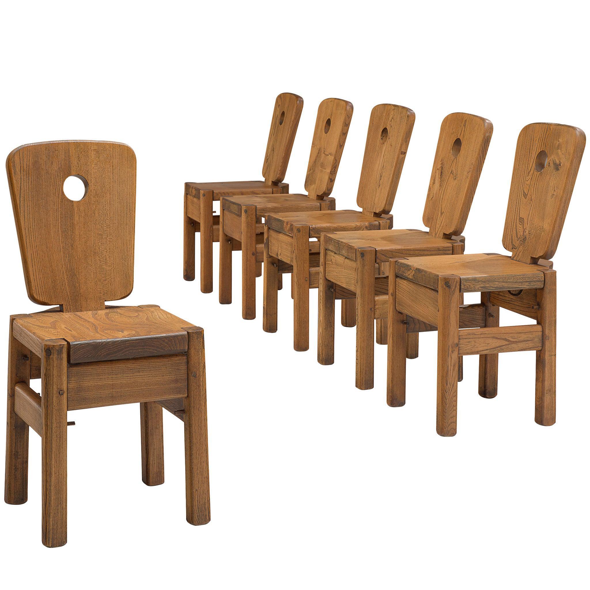 Dutch Set of Six Oak Chairs