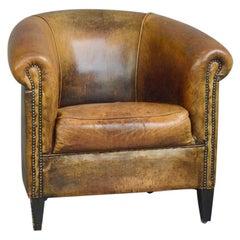 Dutch Sheepskin Leather Tub Chair