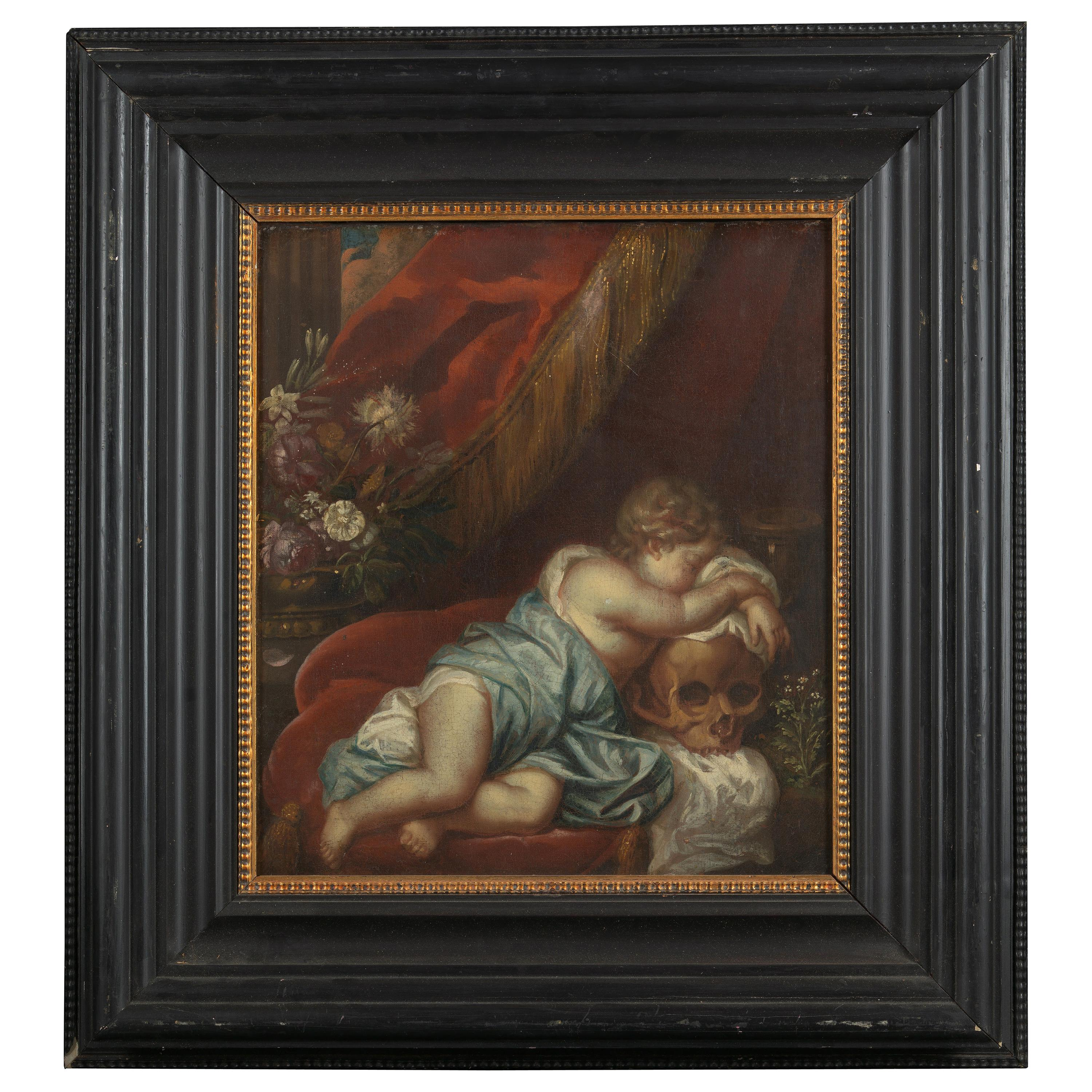 Dutch Shool, Vanitas Scene with Cherub Leaning on a Skull, Oil on Canvas