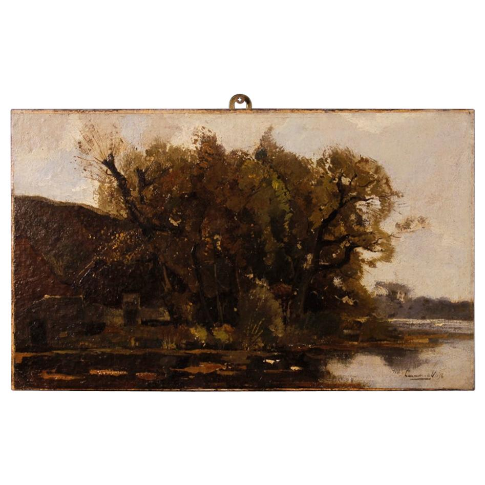 Dutch Signed Painting Landscape Oil on Canvas, 20th Century