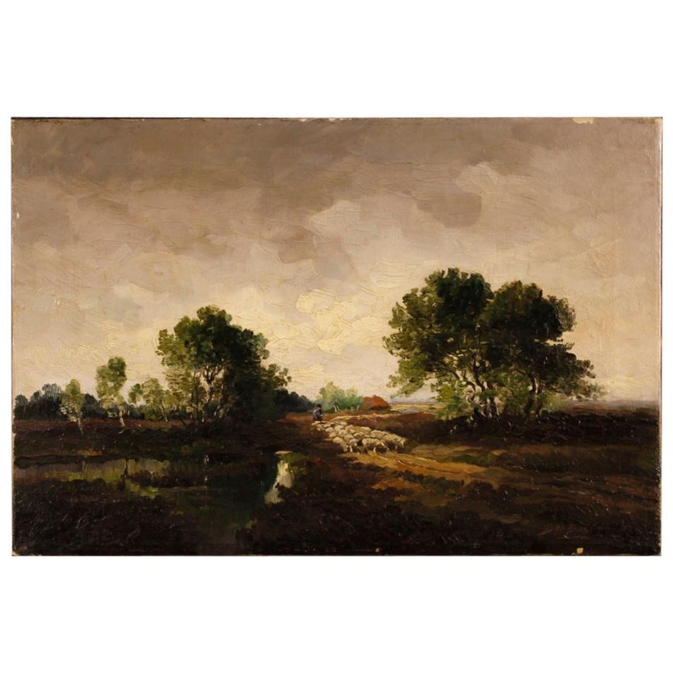 Dutch Signed Painting Landscape with Shepherd and Sheep, 20th Century