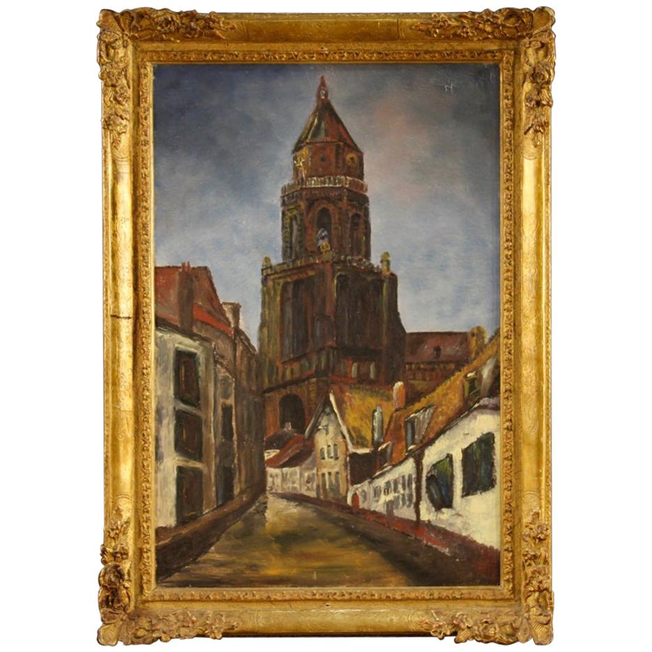 Dutch Signed Painting View of Cathedral, 20th Century