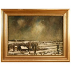 Dutch Signed Painting Winter Landscape, 20th Century