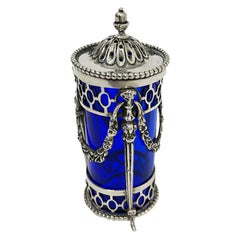 Dutch Silver and Blue Crystal Glass Spice Spreader, 1845