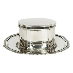 Dutch Silver Cardinal Model Biscuit Box with Accompanying Plate