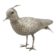 Dutch Silver Lapwing Bird Sugar Box, Antique, 1920
