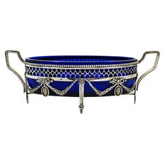 Dutch Silver Oval Jardiniere in Louis XVI Style with Cobalt Blue Glass, 1913