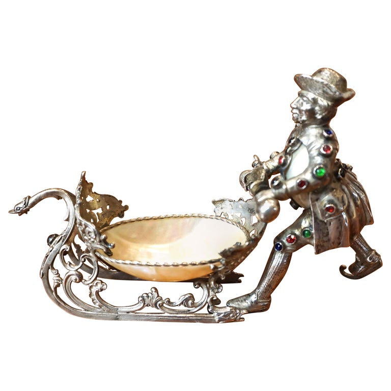 Dutch Silver Plate and Shell Sleigh Driven by Bejeweled Gentleman on Iceskates For Sale