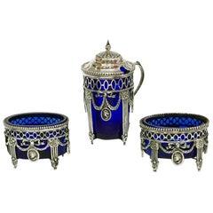 Dutch Silver Salt Cellars and a Mustard Pot with Cobalt Blue Glass, 1911-1924