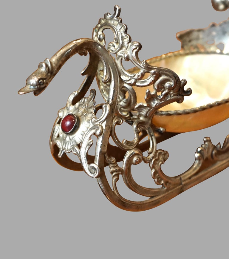 Plated Dutch Silver Plate and Shell Sleigh Driven by Bejeweled Gentleman on Iceskates For Sale