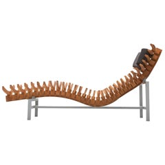 Dutch 'Skeleton' Chaise Longue in Teak