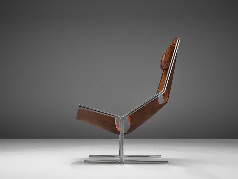 Mid-Century Modern Dutch Sling Lounge Chair in Cognac Leather and Steel by A. Polak