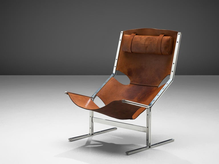 Dutch Sling Lounge Chair in Cognac Leather and Steel by A. Polak In Good Condition In Waalwijk, NL