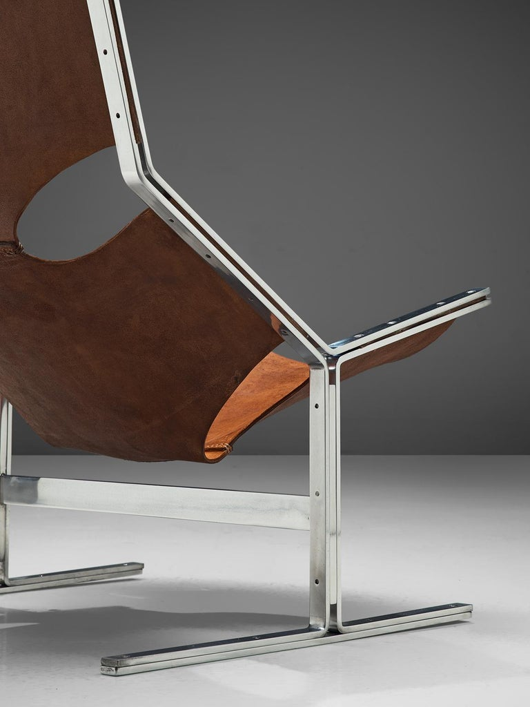 Mid-20th Century Dutch Sling Lounge Chair in Cognac Leather and Steel by A. Polak