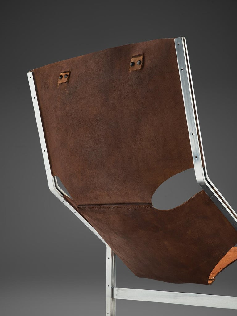 Dutch Sling Lounge Chair in Cognac Leather and Steel by A. Polak 1