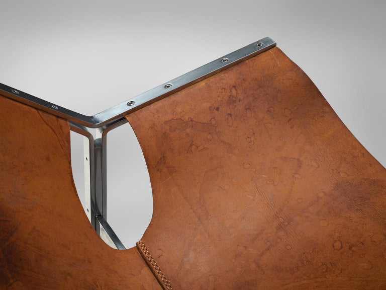 Dutch Sling Lounge Chair in Cognac Leather and Steel by A. Polak 2