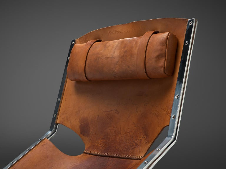 Dutch Sling Lounge Chair in Cognac Leather and Steel by A. Polak 3