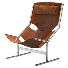 Dutch Sling Lounge Chair in Cognac Leather and Steel by Abraham Polak