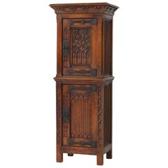 Dutch Solid Oak Gothic Revival Cabinet or Dry Bar, 1940s